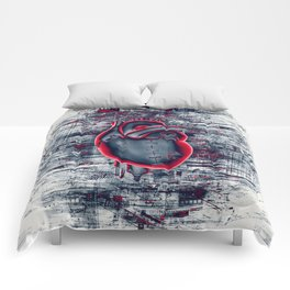 Gamer Heart BLUE CRIMSON / 3D render of mechanical heart Comforters