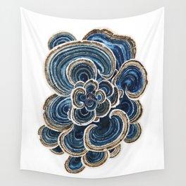 Blue Trametes Mushroom Wall Tapestry
