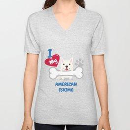 AMERICAN ESKIMO Cute Dog Gift Idea Funny Dogs Unisex V-Neck