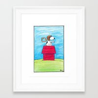 snoopy Framed Art Prints featuring pilot Snoopy by DROIDMONKEY