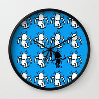 keith haring Wall Clocks featuring Keith Haring & star W. by le.duc