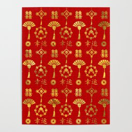 Gold on Red  Lucky Chinese Symbols  Pattern Poster