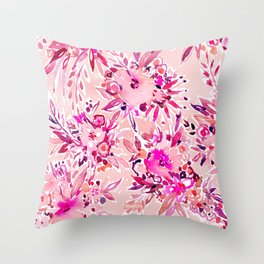 GIMME THAT Pink Wild Floral Throw Pillow