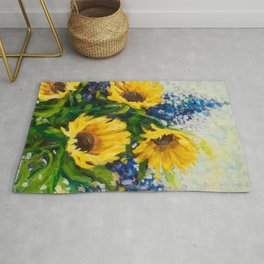 Sunflowers Oil Painting Rug