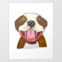 pit bull Art Prints featuring Pit Bull Pride by Kat Lyon