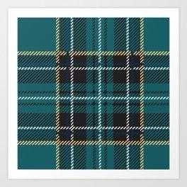 Irish green teal plaid tartan Art Print