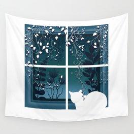 White Kitty Cat Window Watcher Wall Tapestry