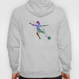 Woman soccer player 03 in watercolor Hoody