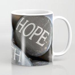 Love Faith Hope Christian Quote Black Pebble Embossing Coffee Mug
