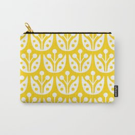 Mid Century Flower Pattern Yellow Carry-All Pouch