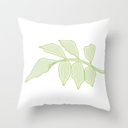 Serrated Leaf Branch Illustration Throw Pillow