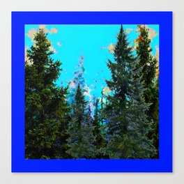 WESTERN PINE TREES LANDSCAPE IN BLUE Canvas Print