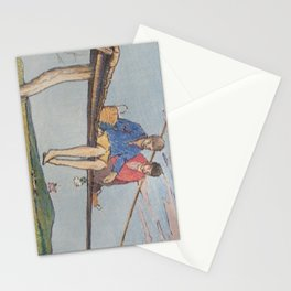 Dropping flowers in the stream Stationery Cards