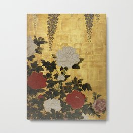 Vintage Japanese Floral Gold Leaf Screen With Wisteria and Peonies Metal Print