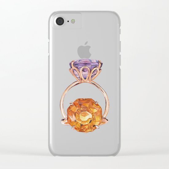 Circles on Purple Clear iPhone Case