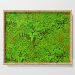 ABSTRACTED  GREEN  TROPICAL FERNS GARDEN ART Serving Tray
