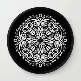 Looping Black and White Mandala Wall Clock
