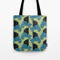 cars Tote Bags featuring Cars by Cliodhna Ztoical