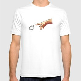 Funny 8bit Nerd & Geek Humor (Creation of Adam Parody) T-shirt