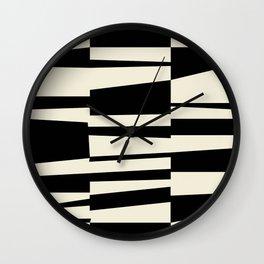 BW Oddities II - Black and White Mid Century Modern Geometric Abstract Wall Clock
