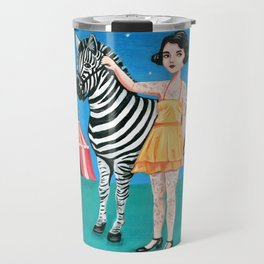 Tattooed circus girl with zebra. Travel Mug