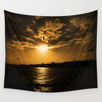 istanbul Wall Tapestries featuring İstanbul Sunset  by kartalpaf