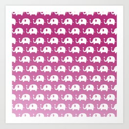 Elephants in Love (Pink) Art Print