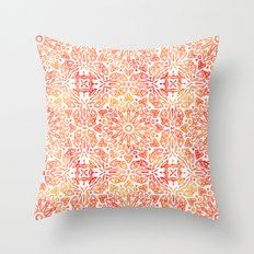 Oriental Watercolor ornament pattern yellow orange Throw Pillow