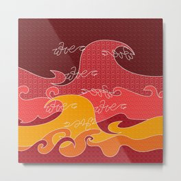 Waves V red colors All Over Print Shirts V2 Metal Print