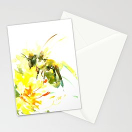 Honey Bee and Yellow Abstrac floral decor Stationery Cards