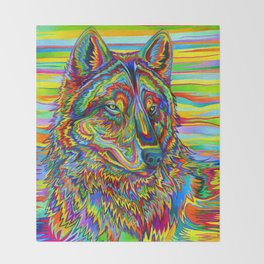 Colorful Psychedelic Rainbow Wolf Throw Blanket