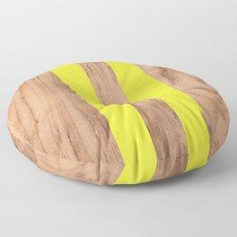 Striped Wood Grain Design - Yellow #255 Floor Pillow