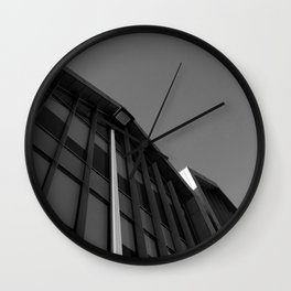 black and white building abstract Wall Clock