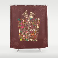 gift card Shower Curtains featuring Christmas Gift 01 by BlueLela