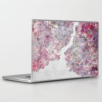 istanbul Laptop & iPad Skins featuring Istanbul Map by MapMapMaps.Watercolors