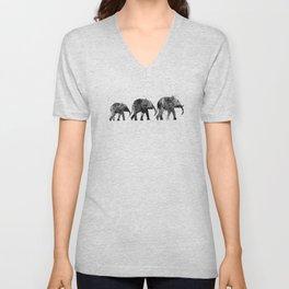 Elephants 2, black and white Unisex V-Neck