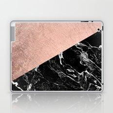 Bold modern rose gold black marble color block Laptop & iPad Skin