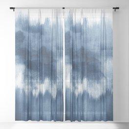 Blue watercolor brush strokes Sheer Curtain
