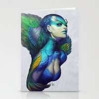dead Stationery Cards featuring Peacock Queen by Artgerm™