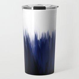 Modern blue cobalt black oil paint brushstrokes abstract Travel Mug