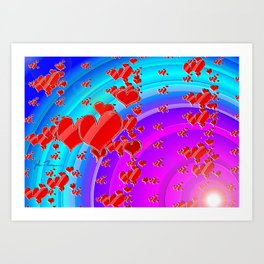 Heart explosion Art Print