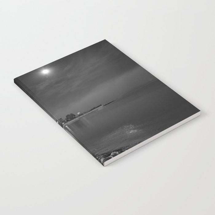 Foggy Moonlit Beach B&W Notebook