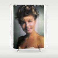 laura palmer Shower Curtains featuring Twin Peaks, Laura Palmer - Pixel Portrait by VIVA LA GRAPH!