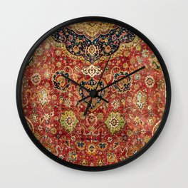 Indian Boho II // 16th Century Distressed Red Green Blue Flowery Colorful Ornate Rug Pattern Wall Clock