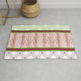 Green, Cranberry and Cable Knit Design Rug