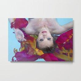 Swimming Pool - Floating Blond Metal Print