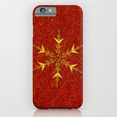 Golden Snowflake on Red Glitters Slim Case iPhone 6
