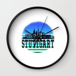 stuttgart sunset Wall Clock