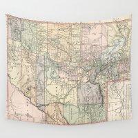 utah Wall Tapestries featuring Vintage Map of Utah (1891) by BravuraMedia