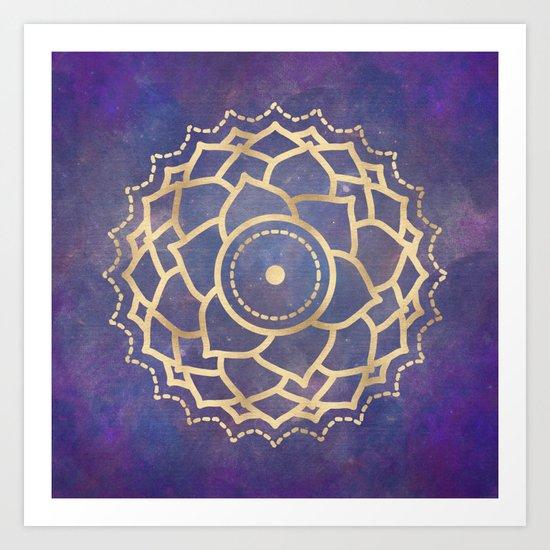 Mandala Chakra Copper and Purple Crown Chakra Art Print